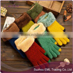 Ladies fashion hot knitted winter glove touch screen gloves