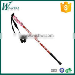 light trekking pole with internal lock, floral EVA grip, 3 sections, red SZ15521