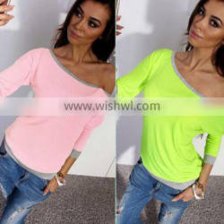 sexy women causal blouse long sleeve tee shirt for women 3 colors cheap one shoulder tops for women Quality Choice