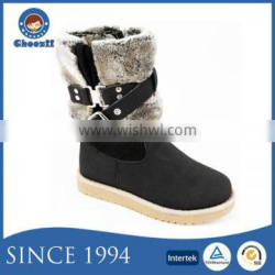 Choozii Black Middle Cut Buckle Strap Snow Kids Boot with Zipper