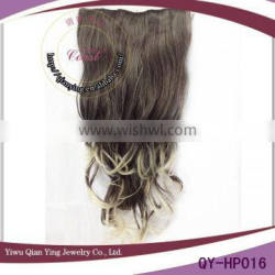Grey ombre curly synthetic fiber hair extension clip in