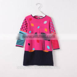 2016 autumn long sleeve new arrivals girl knitted dress with top quality