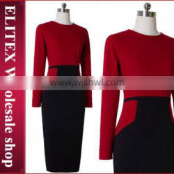 2015 TOP quality fashion sexy red long sleeve red lady fashion dress