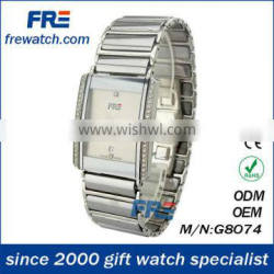 2014 men watch with stainless steel strap square watch