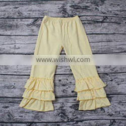New Style Girls yellow pants with ruffles wholesale ruffle pants for adults