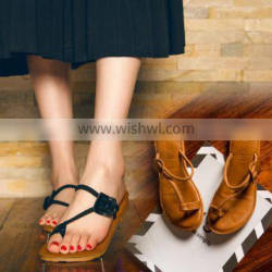 2017 simple stylish women soft heel flat hollow out beach slippers