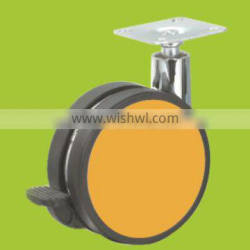 hot sale 82mm swivel top plate colorful furniture caster with brake (FC4311A)