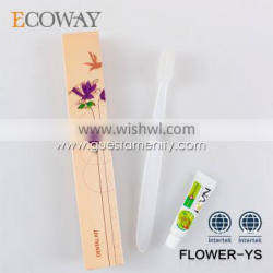 2016 high quality disposable hotel toothbrush with paste airline dental kit