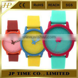 shiny candy color watch with rubber color stainless steel case back Japan movement