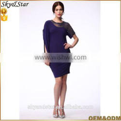 women purple high quality with mesh shoulder mini african pattern dress