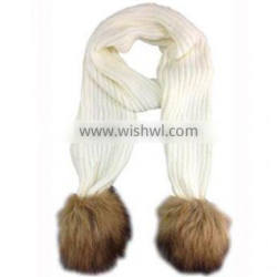 ribbed knitted fur pom scarf