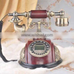 Corded old style wooden craft telephone set
