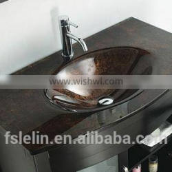 Foshan glass cabinet basin with handpainted color for bathroom vanity LH-174