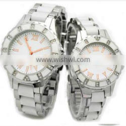 2013 new top fashionable pair ceramic watch wtihc pc movt couple watch