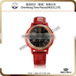 Vogue wholesale china watch genuine leather watch cattle hide watch stainless steel case japanese quartz movement factory