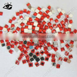 Acrylic rhinestone flat back square shape red color for nail dress craft decoration