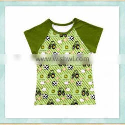 2017 new design shirts casual car pattern print boys and girls summer clothing boutique tops