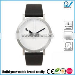 PVD steel stainless steel case leather strap Japan movement 3ATM water resistant moving disk japan brand watch