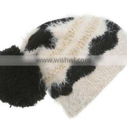 knitted beanie with black and gold coloured lurex stripe