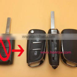 Hot Citroen 2 button flip remote key blank shell case with VA2 307 Blade and battery place for new citroen remote flip key