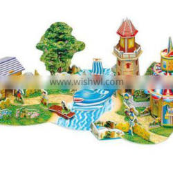 kids playing house 3d paper jigsaw puzzle