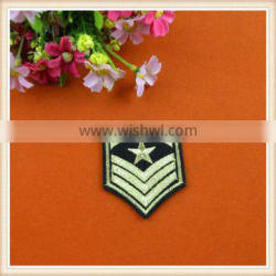 High quality gold iron on badge embroidery patch/applique custom make for clothing/dress/jeans