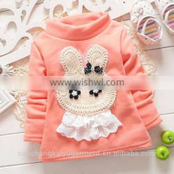 Autumn and winter wear new baby plus high collar sweater cashmere thickened T-shirt Princess infant bottoming shirt in winter