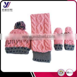 New design fashionable women knitting sets wholesale knitted scarf beanie and glove sets factory sales