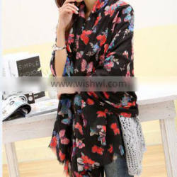 wholesale new arrival cotton latest women butterfly print scarf