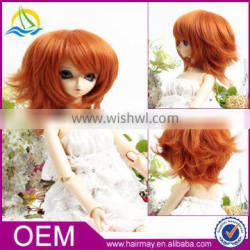 Best quality orange yellow cheap girl synthetic doll hair wig with bangs