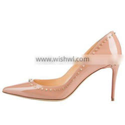 Merumote 2016 New Style New Fashion Girls 10cm Nude High Heel Shoes With Metal Rivet