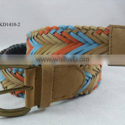 shine colorful woven pu leather fake leather belt for girl