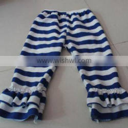 simple autumn casual legging pants for kids ruffled floral cotton soft two layers pants