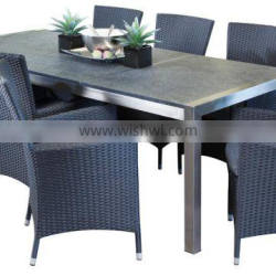 Garden furniture Stainless steel frame table with granite top ,Aluminum frame with PE wicker armrest chair