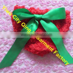 Lovely Infant Girl Rose Diaper Cover Sweet Red and Green Kids Christmas Bloomers