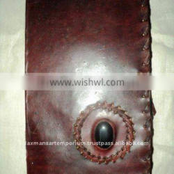 leather notebook with stone wholesale