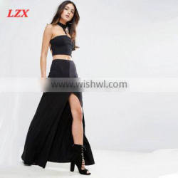 High Maxi skirt with Thigh Split with black
