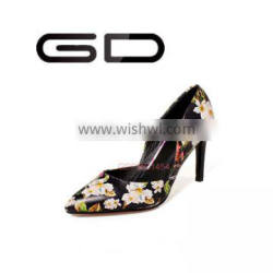 Top quality print flower cow leather high heel pumps women 2016 spring