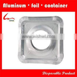 Aluminium Foil Square Gas Burner Disposable Bib Liners/ Covers For Stove With One Hole