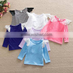 Flutter sleeves solid baby girl long sleeve t shirt M7032001