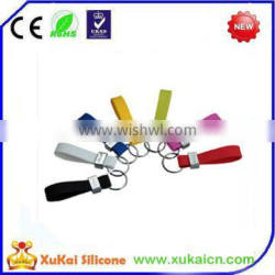 Multi color silicone print logo keychain for key