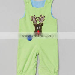 Green Appliqued Reindeer Baby Boys Longall