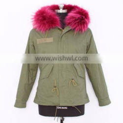 2016 new hot selling parka jacket with real fox fur collar