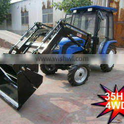 35HP mini farm tractor with front loader 4in1 bucket and backhoe,4cylinders,8F+2R shift,with Cabin,heater,fan,fork,blade