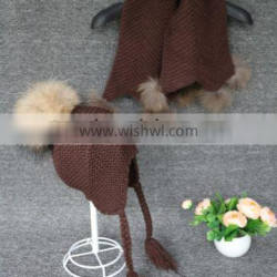 Winter Wool Scarf Knitting Kids Caps with Raccoon Fur Pompoms