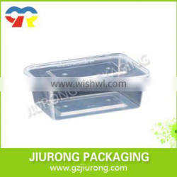 Custom made transparent airtight disposable plastic food container with lid