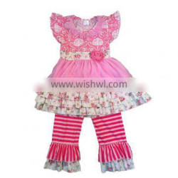 kids clothing manufacturer floral print pink color lace dress with stripe pants ruffle boutique outfit toddler girls outfits