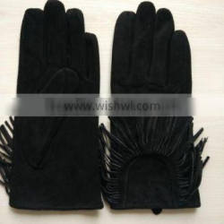 women fashion fringed sheep suede leather gloves with tassel