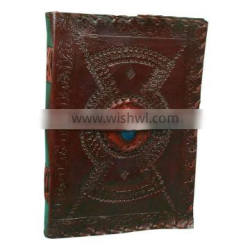 Embossed Stitched Leather Blue Stone Leather Journal For Use Personal Diary