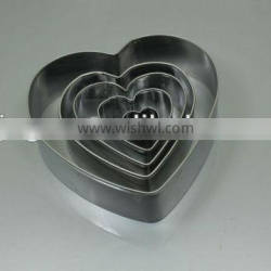 5pc heart shape stainless steel cookie cutter